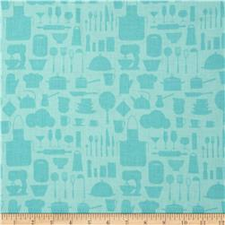 In The Kitchen Kitchenware Silhouette Aqua