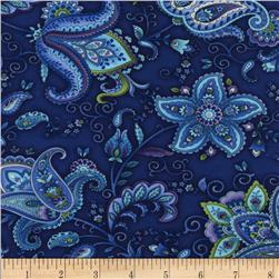Timeless Treasures Belize Jacobean Floral Indigo