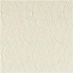 Stretch Nylon Floral Lace Ivory
