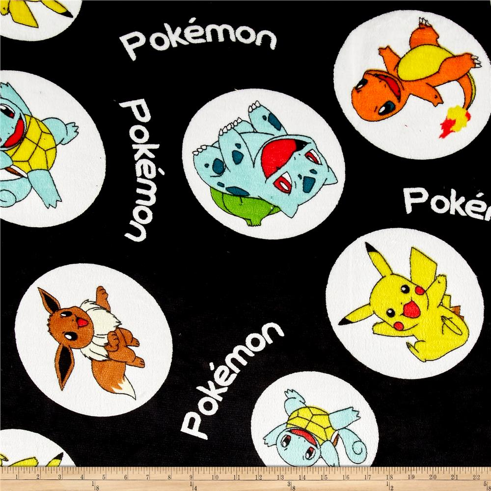 Kaufman Ultra Plush Fleece Pokemon Bubbles Black Fabric