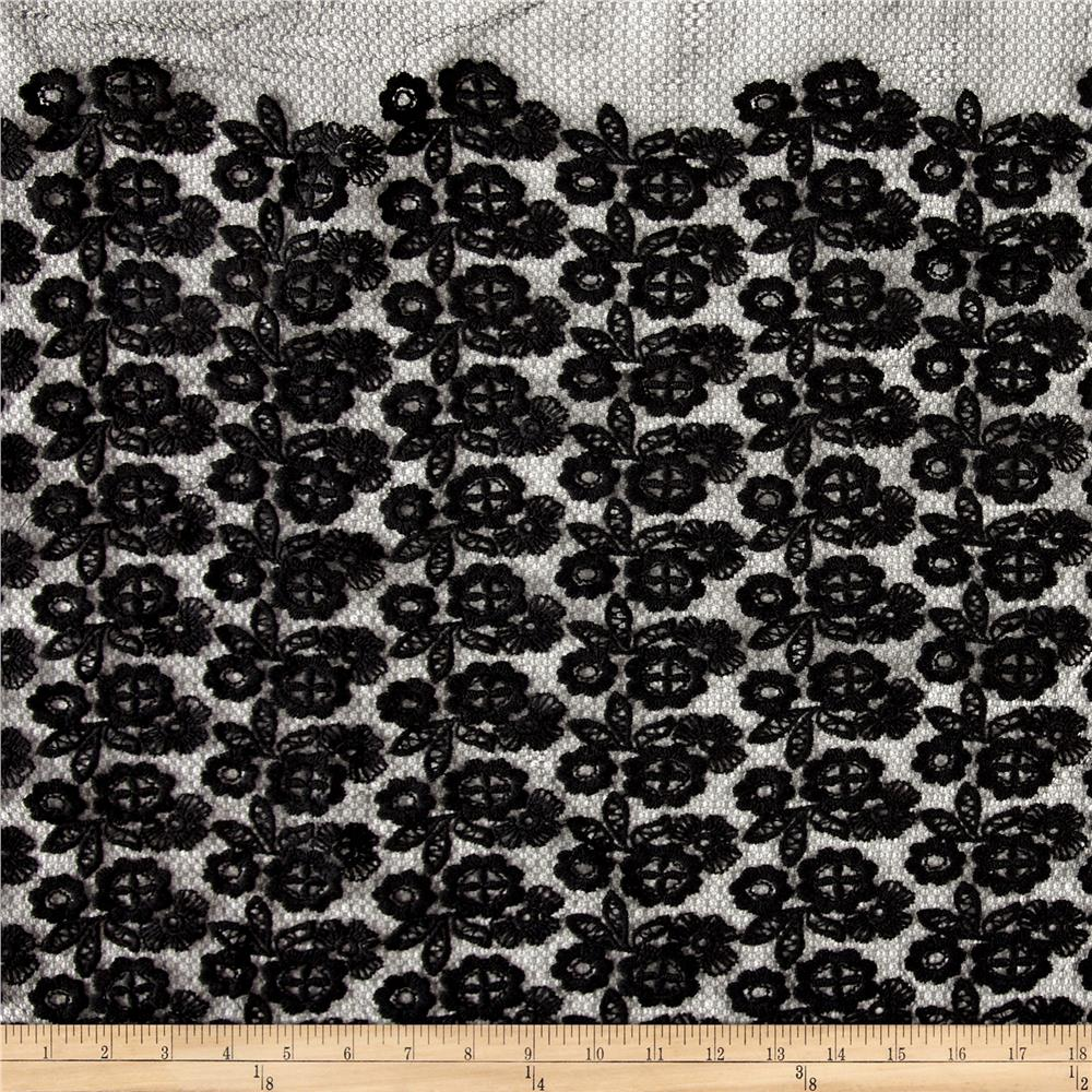 Antique Floral Mesh Embroidery Black