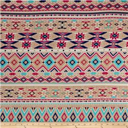 Jersey Knit Aztec Diamond Pink Tan