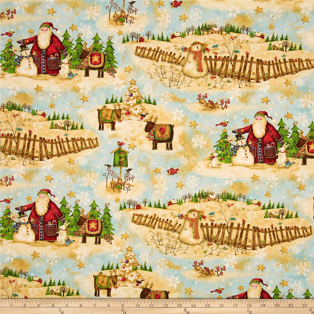 Santa's Journey Scenic Santa Metallic Blue