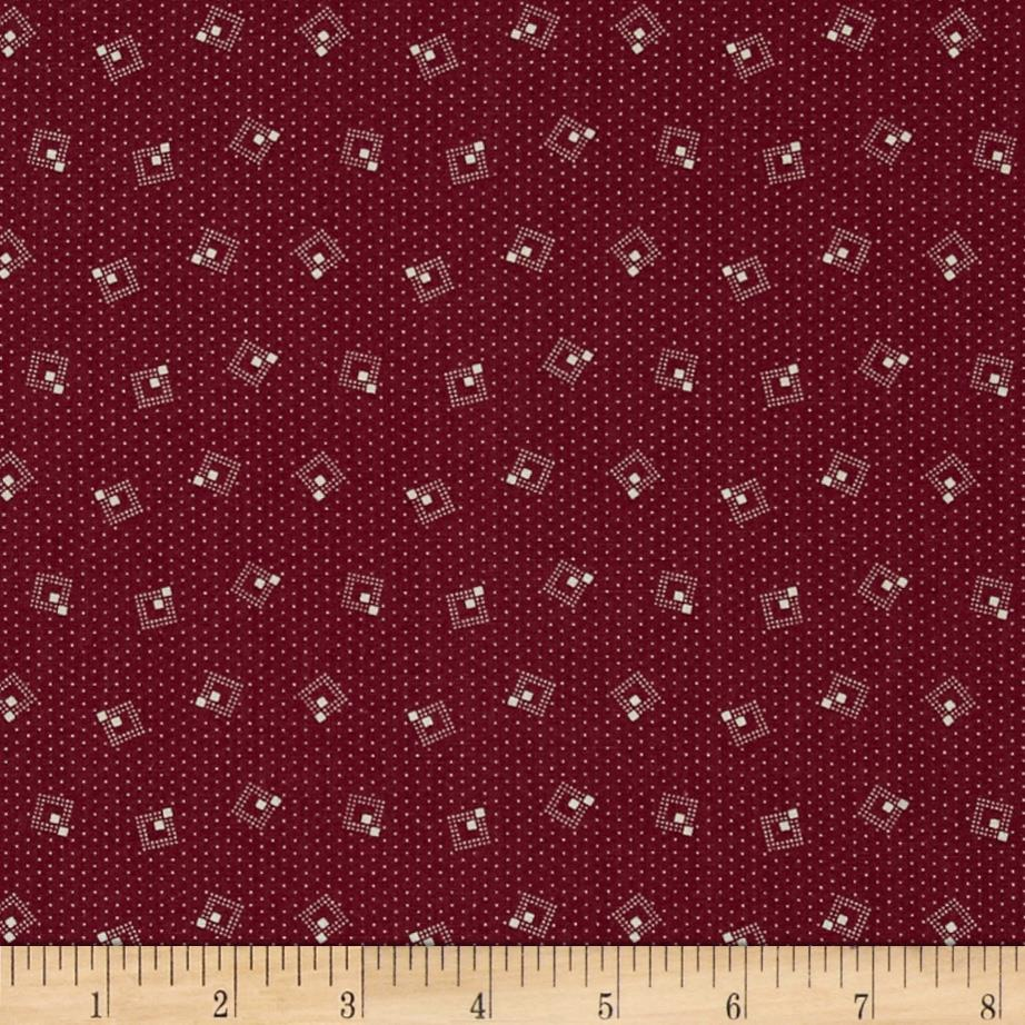 Small Geometric Squares Burgundy/Tan