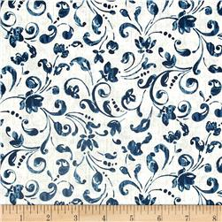 Timeless Treasures Santorini Floral Scroll Blue