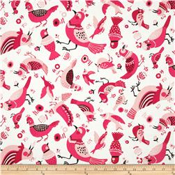Kokka Tossed Birds White/Red Fabric