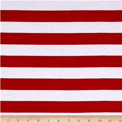 Cotton French Terry Stripe Red/White