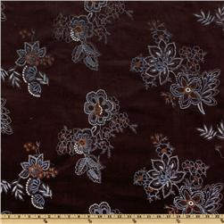 Stella Stretch Embroidered Corduroy Floral Brown