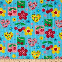 Tutti Frutti Plisse Hearts and Flowers Turquoise Fabric