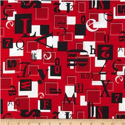 Rush Hour Numbers in Boxes Red Fabric