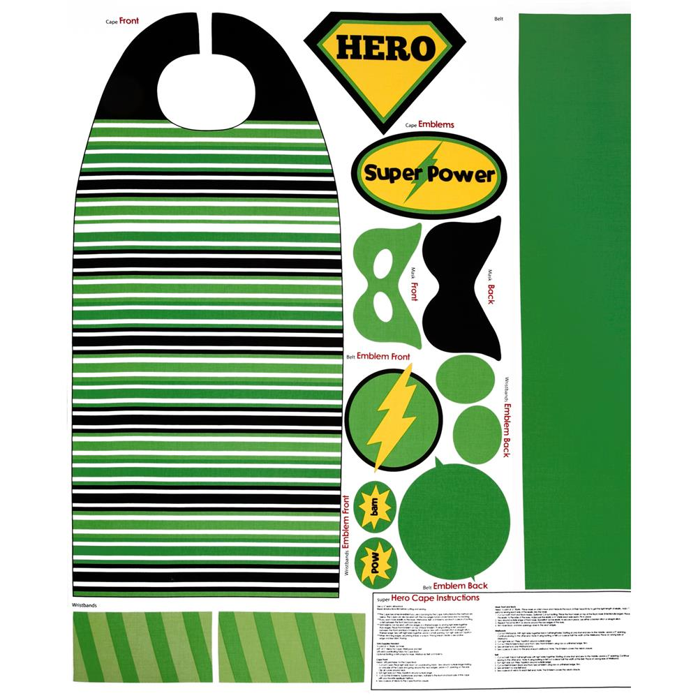 Riley Blake Super Hero Cape Panel Green