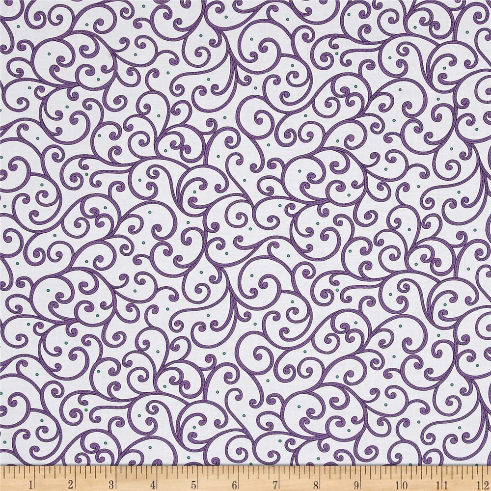 Imperial Paisley Scroll White/Purple Fabric