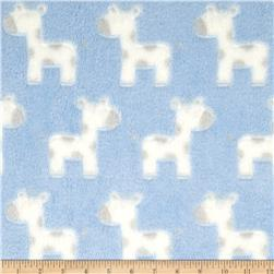 Minky Snuggle Fleece Baby Giraffe Light Blue