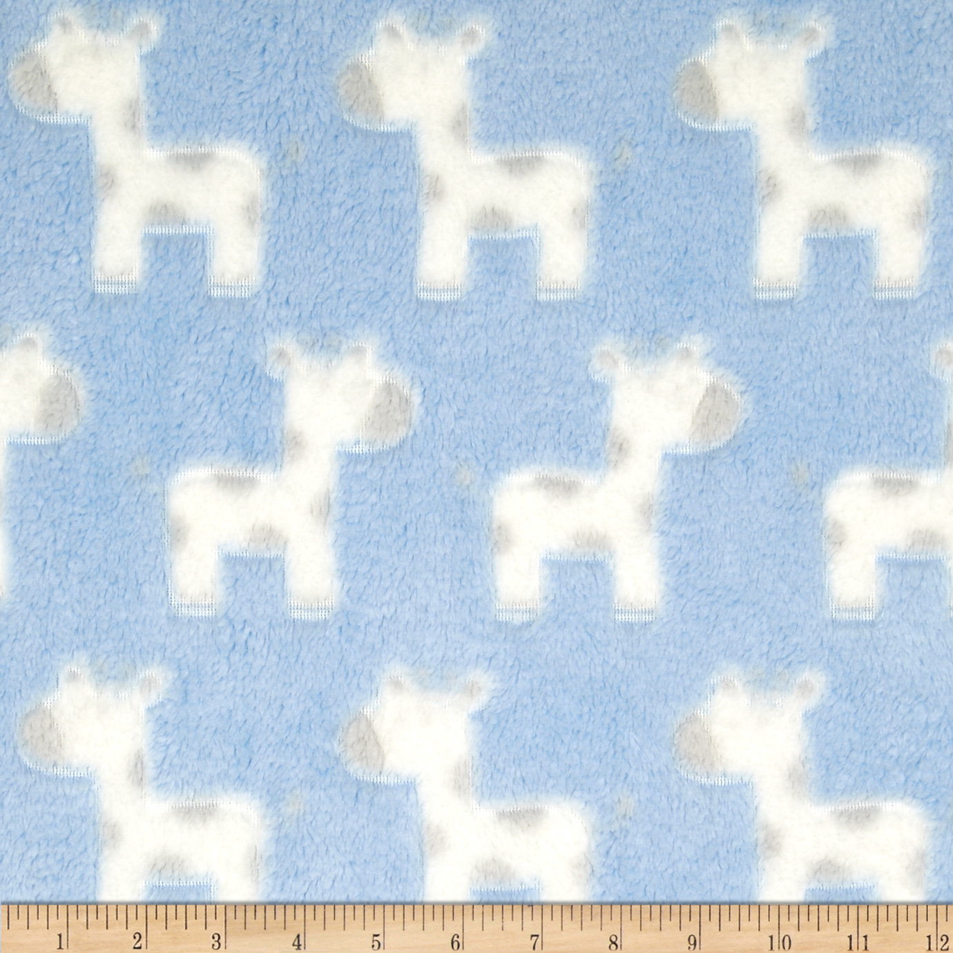 Minky Snuggle Fleece Baby Giraffe Light Blue Fabric