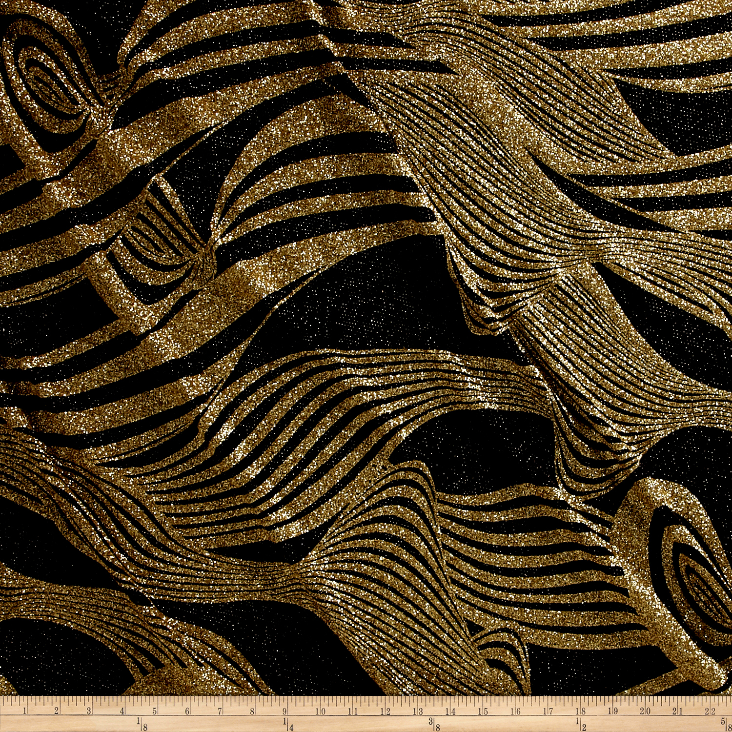 Dancewear Metallic Glitter Knit Gold/Black Fabric 0530554