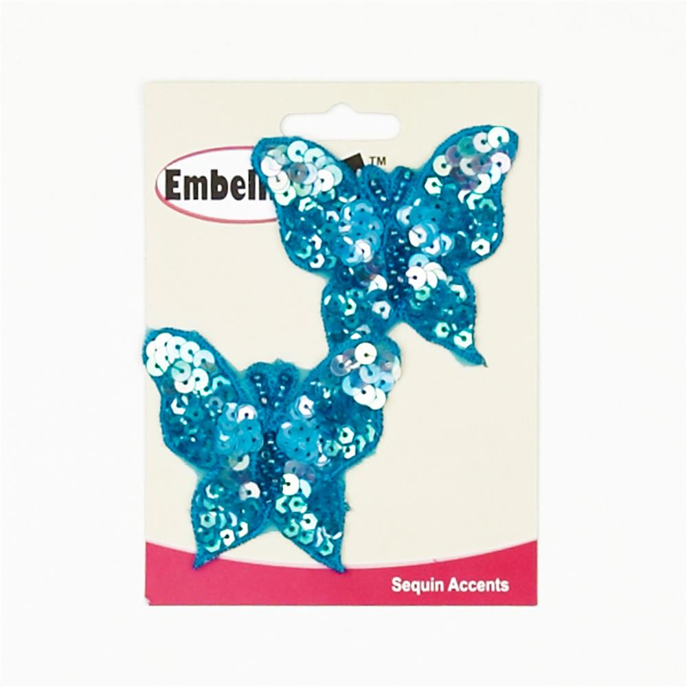 Butterfly Sequin Applique Pair Blue