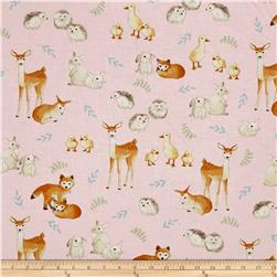 Kaufman Fawns & Friends Animals Pink