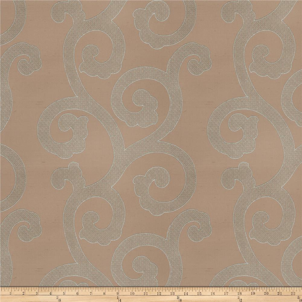 Fabricut Brando Scroll Silk Embroidered Seamist