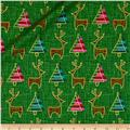 Contempo Merry Little Christmas Metallic Reindeer Green