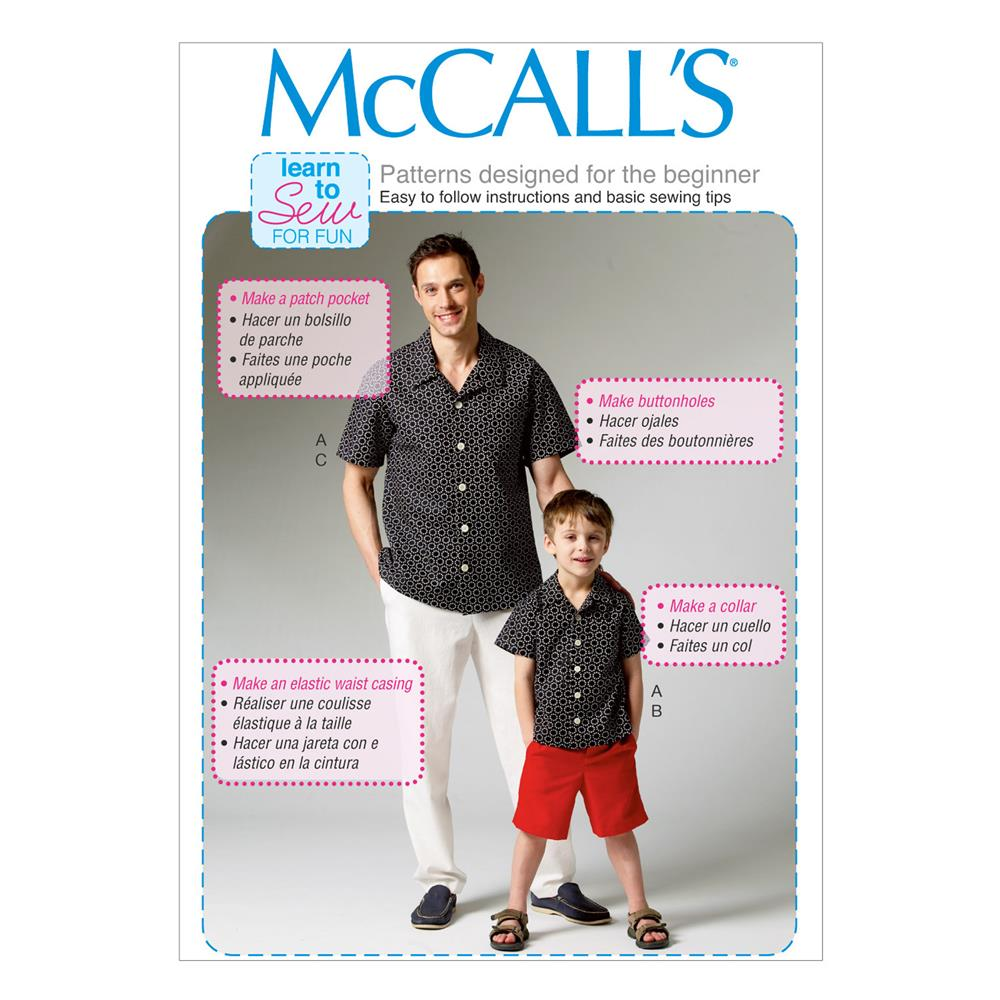 McCall's Men's/Boys' Shirt, Shorts and Pants Pattern M6972