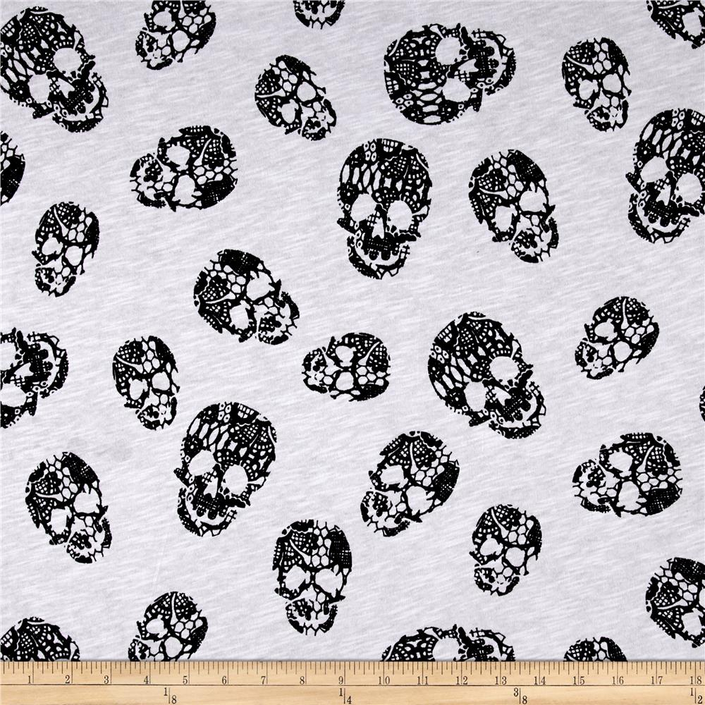Jersey Knit Skull Print Black White