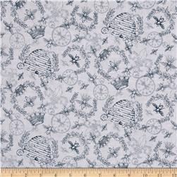 Queen Bee Toile Grey Fabric