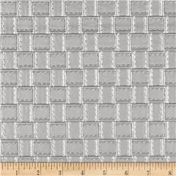 Faux Leather Basketweave Silver