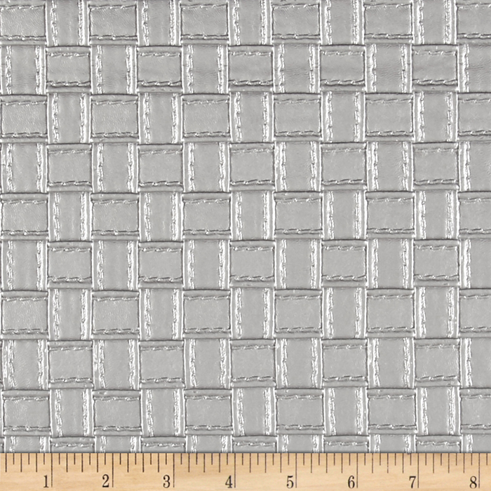 Faux Leather Basketweave Silver Fabric by Plastex in USA