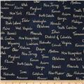 Cotton & Steel Home Decor Canvas State Words Navy