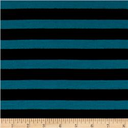Jersey Knit Stripe Teal/Black
