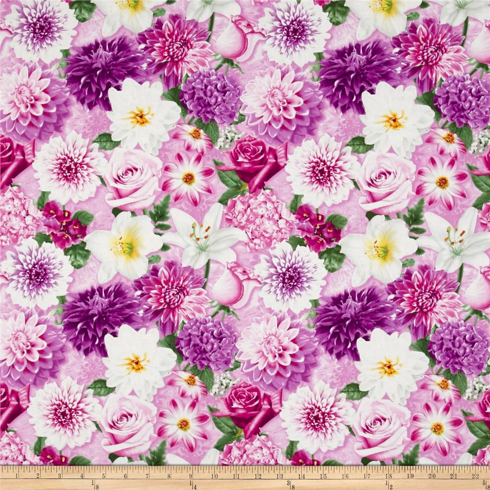 Shades of Violet Large Allover Floral Light Fuschia