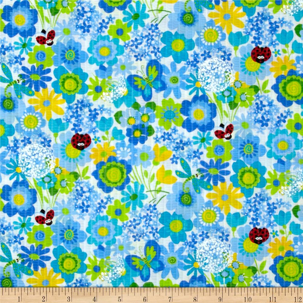 Tutti Frutti Plisse Flowers and Ladybugs Blue