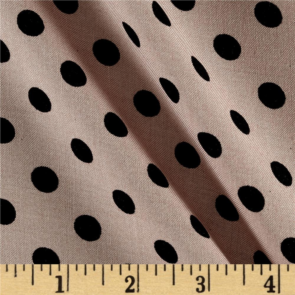 Rayon Challis Small Dots Tan Black