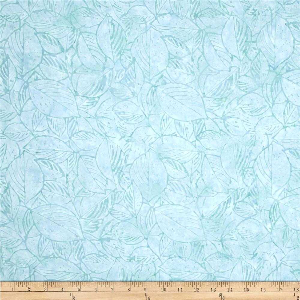 Timeless Treasures Tonga Batik Citrus Mint Stencil Leaves Surf