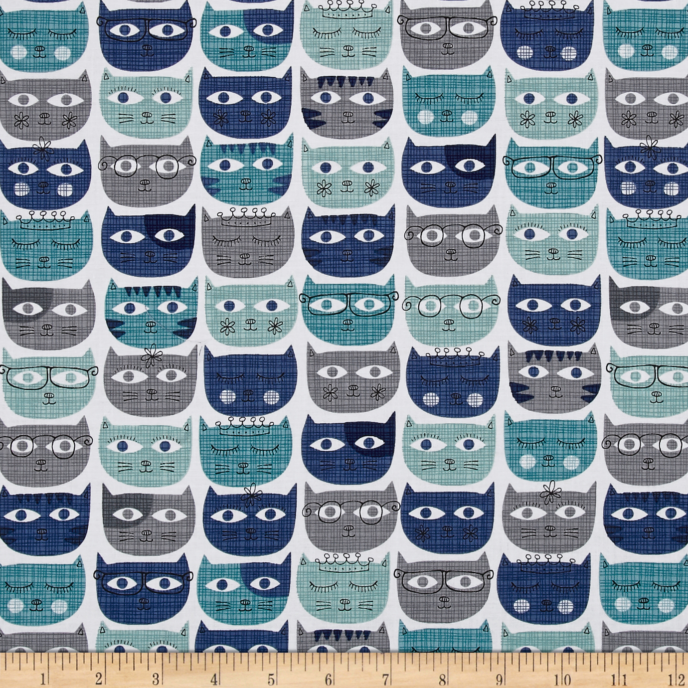 Image of Michael Miller Sassy Cats Sassy Cats Blue Fabric