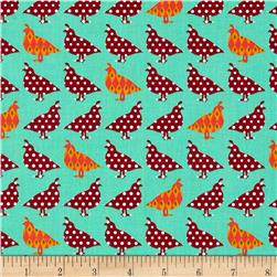 Holiday Sweet Tweets Small Birds Retro Aqua