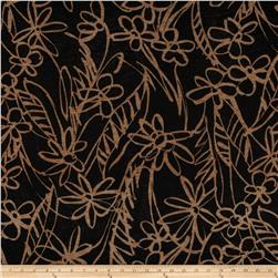 Stretch ITY Slub Jersey Knit Flower Sketch Brown/Mocha