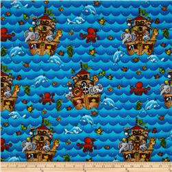 Noah's Ark Flannel Toss Blue