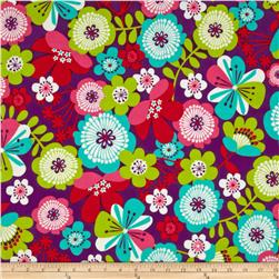 Punch Garden Flannel Large Mod Flowers Retro Purple