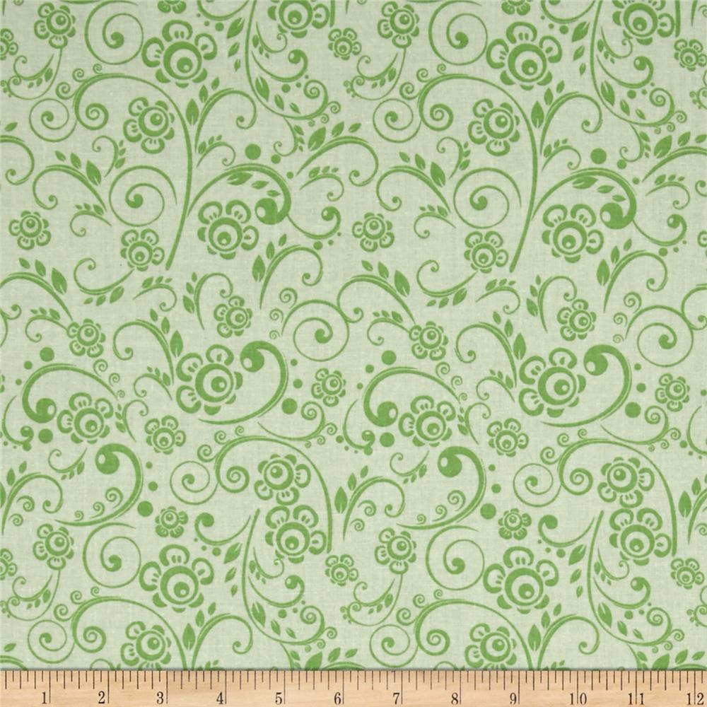 "108"" Wide Quilt Back Floral Swirl Mint"