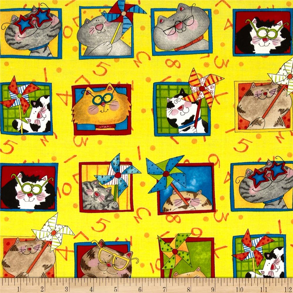 Kid's Corner Cat Squares Yellow/Multi