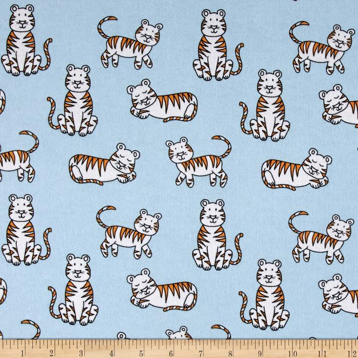 Michael Miller Baby Zoo Flannel Tiger Tykes Sky Fabric
