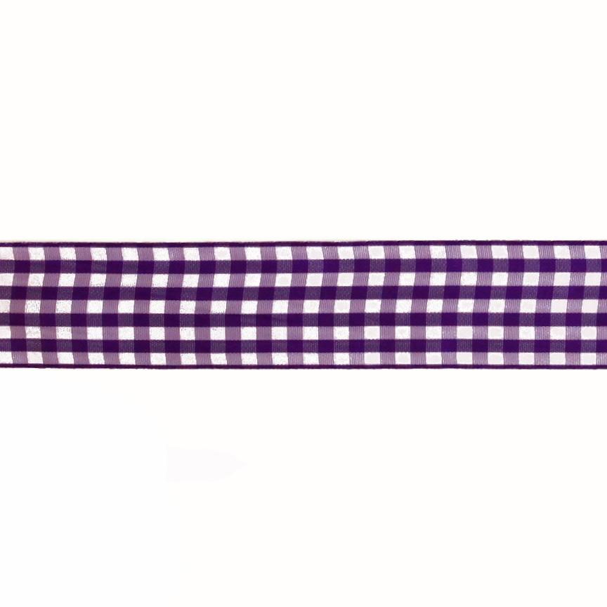 "1.5"" Gingham Ribbon Purple/White"