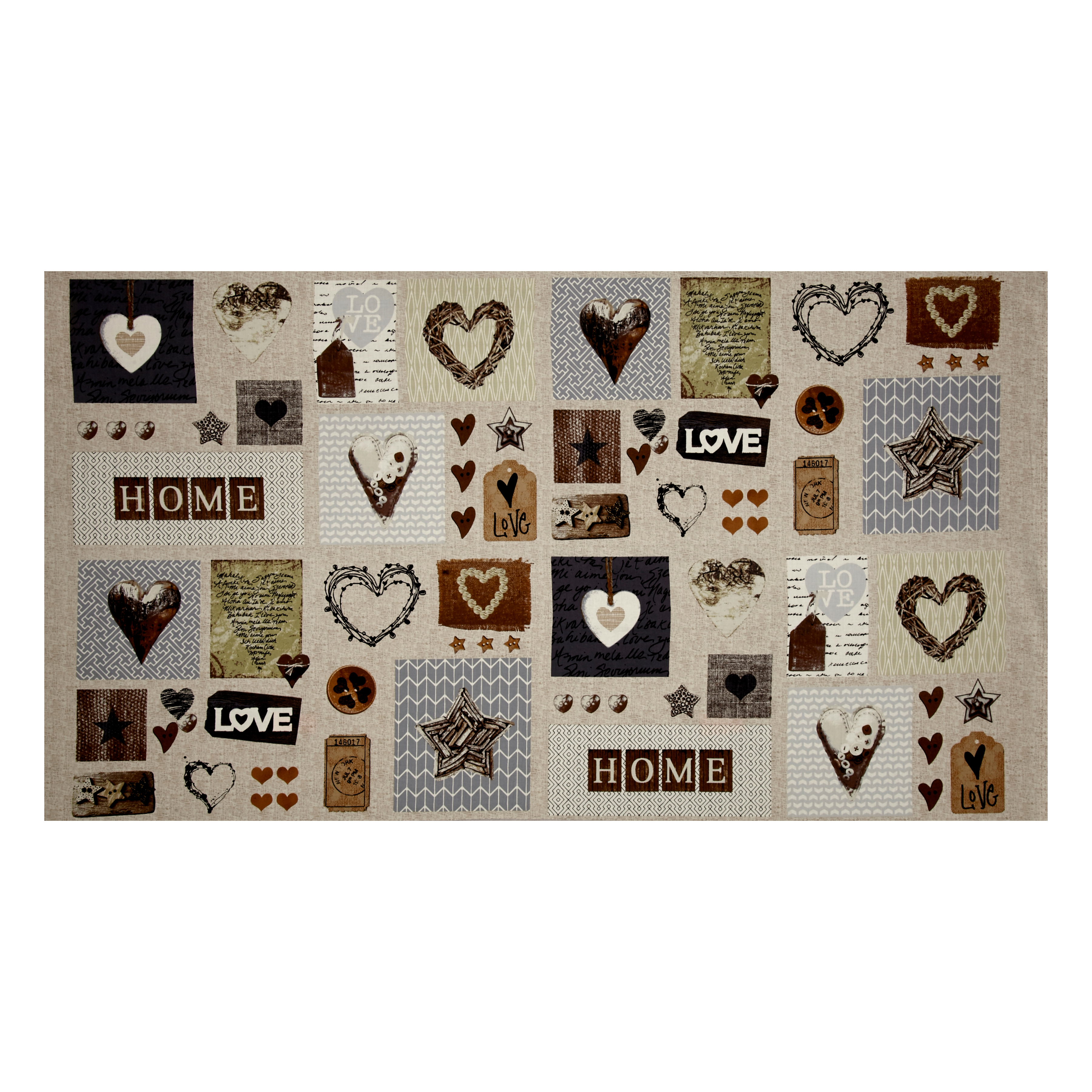 Image of Cosy Home Love Heart and Home 24'' Panel Beige Fabric