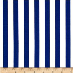 Harlequin Stretch Cotton Sateen Stripe Blue/White Fabric