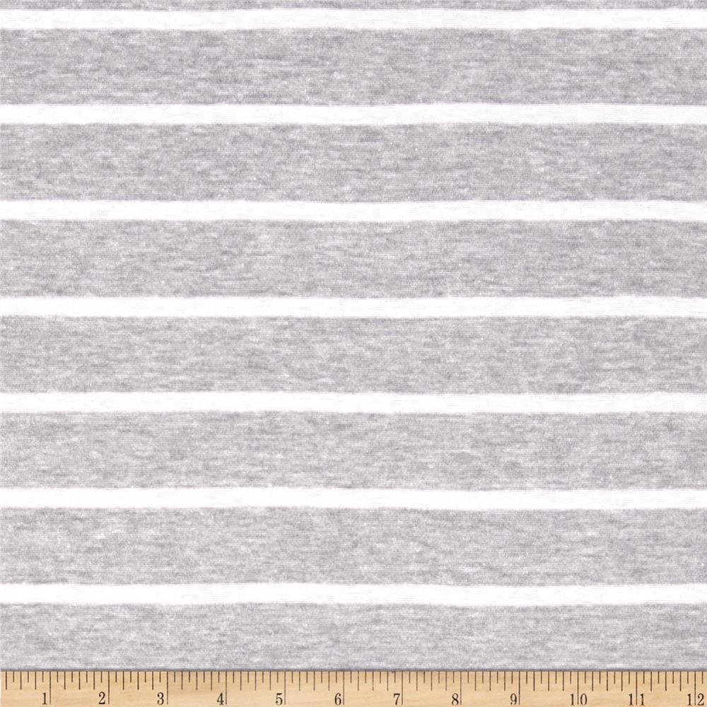 Yarn Dyed Tissue Jersey Knit Stripes Ash Grey/White