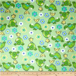Fleece Prints Turtles & Birds Blue