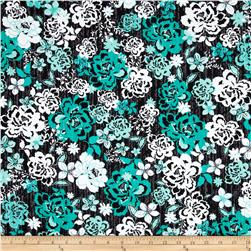 Modern Blooms Medium Floral Teal