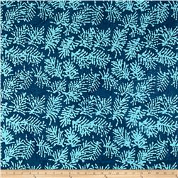 Indian Batik Moody Blues Fern Leaf Blue