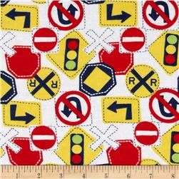 Flannel Traffic Signs White Fabric